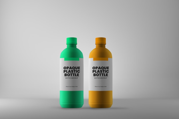 Two plastic medicine bottle mockup