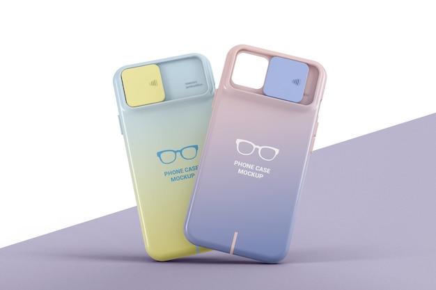 2つのプラスチック製の電話ケースのモックアップ