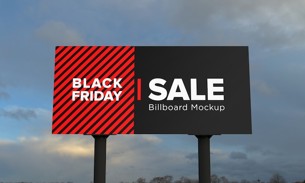 Two poll billboard sign mockup with black friday sale banner