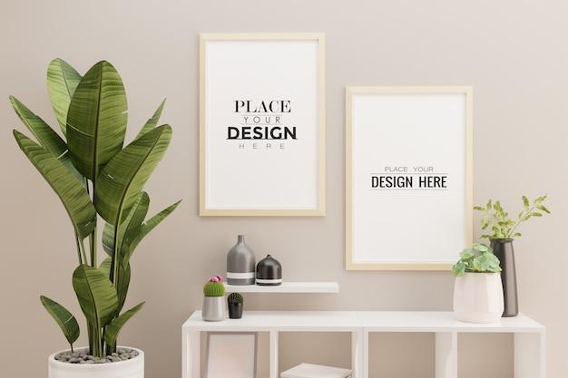 居間の内部の2つのポスターフレームのモックアップ