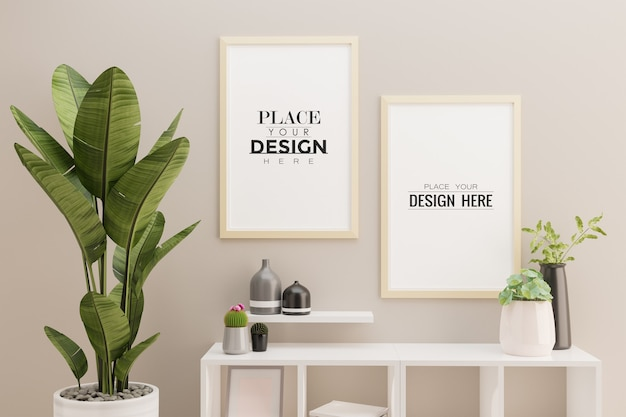 Two poster frame mockup in living room interior