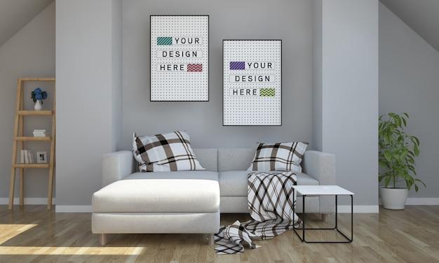 屋根裏部屋のリビングルームの3dレンダリングに関する2つのポスターのモックアップ