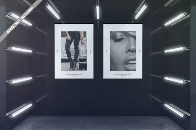 Two posters in glowing exhibition room mockup
