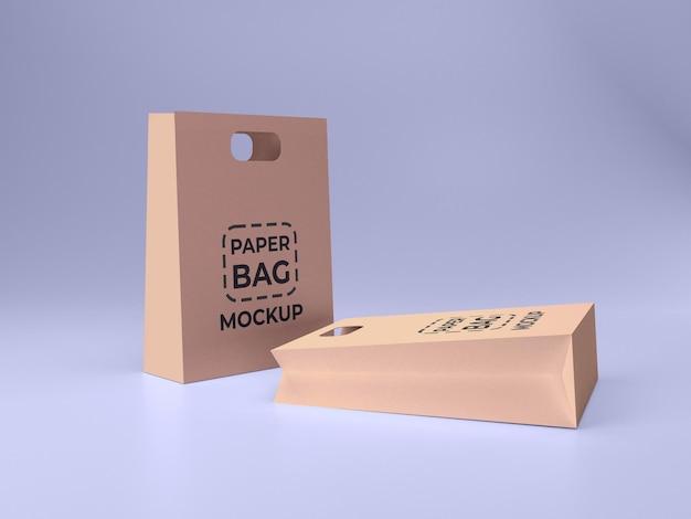 두 개의 프리미엄 품질 종이 쇼핑백 3d 모형 디자인