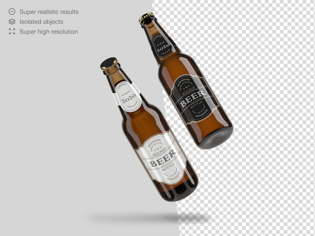 Two realistic floating beer bottles mockup template