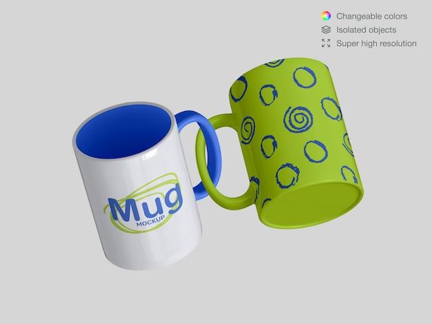 Two realistic  floating classic  ceramic mugs mockup template