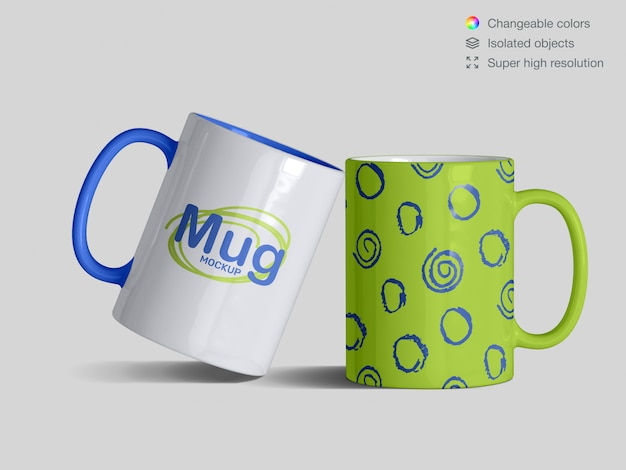 Two realistic front view classic  ceramic mugs mockup template
