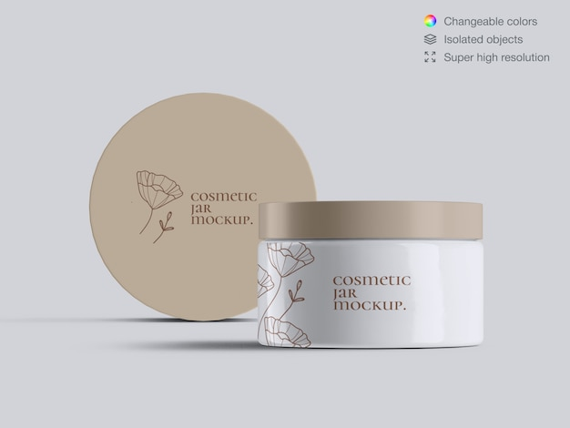 Two realistic front view plastic cosmetic face cream jars mockup template