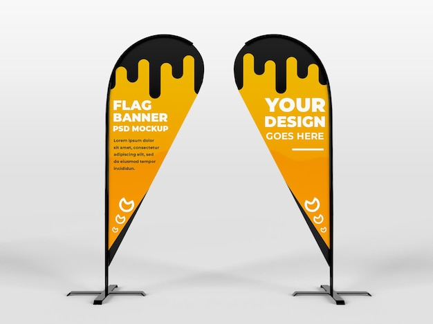 Two realistic rounded feather flag vertical banner advertising and branding campaign mockup