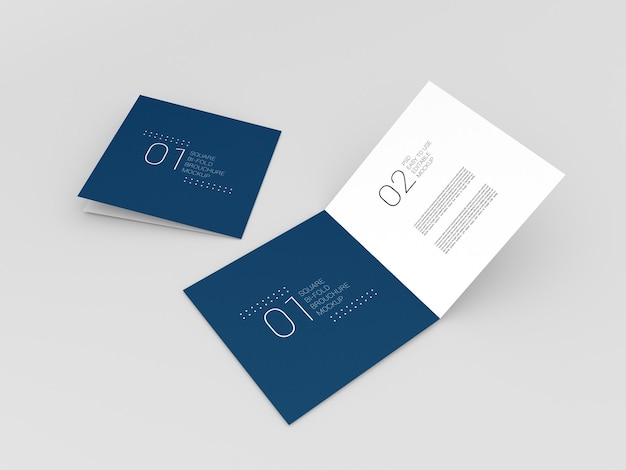 Due mockup di brochure bi-fold quadrati realistici
