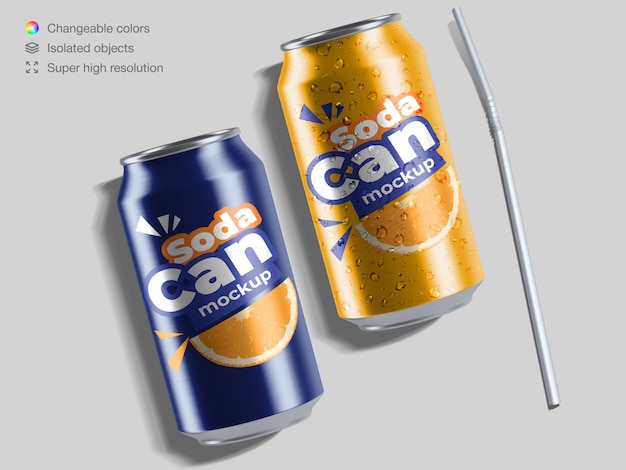 Two realistic top view aluminium soda cans with water drops and cocktail straw mockup template