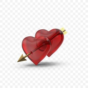 Два красных сердца с видом спереди стрелки