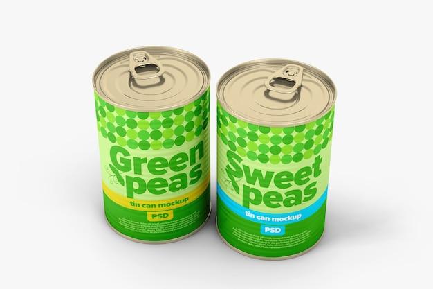 Two ribbed tin cans mockup