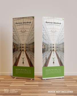 Two roll up banner mockup in interior scene