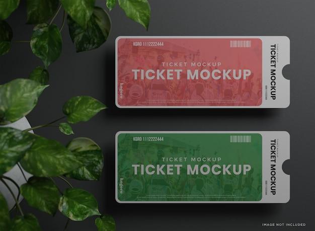 두 개의 라운드 코너 티켓 목업