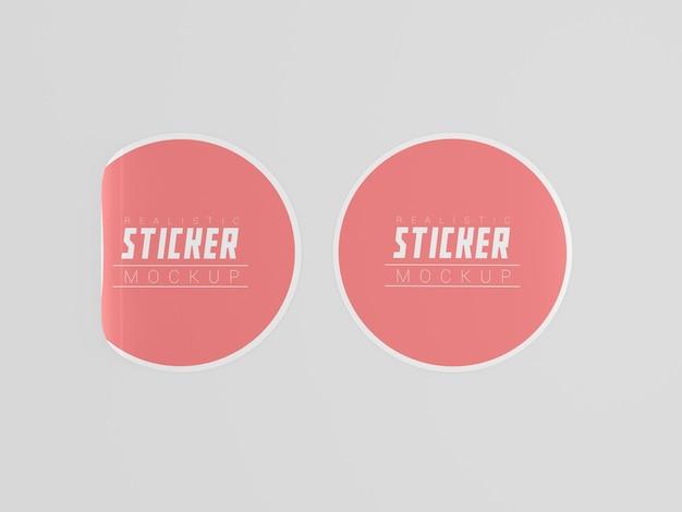 두 개의 둥근 스티커 모형