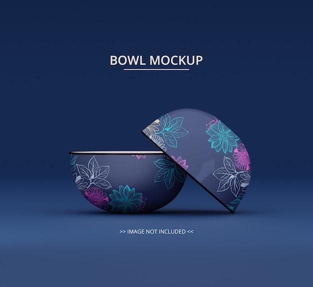 Two round white bowl mockup