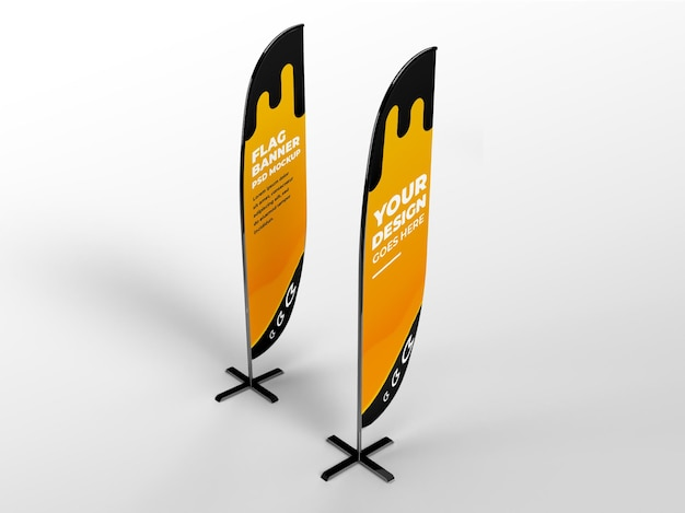 Two rounded realistic flag vertical banner advertising and branding campaign mockup