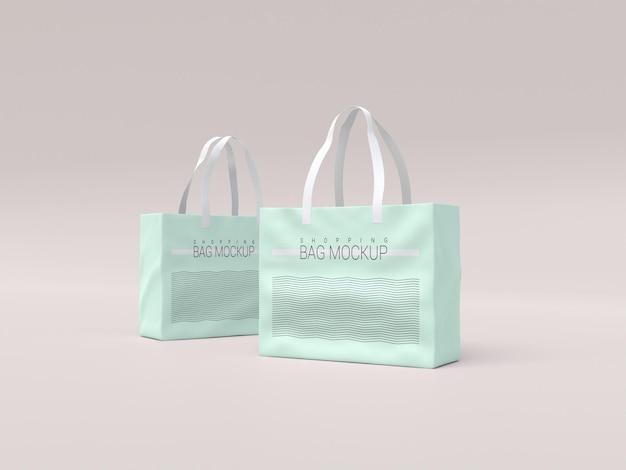 2つのショッピングバッグのモックアップ