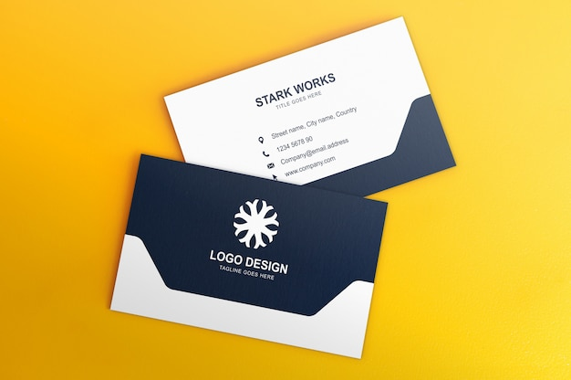 Two sides business card mockup on yellow background