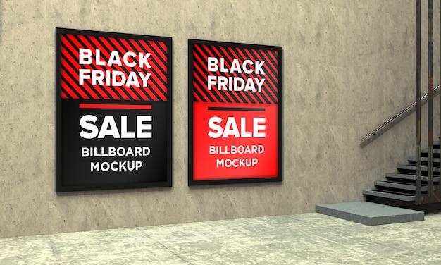 블랙 프라이데이 세일 배너가있는 쇼핑 센터의 두 사인 보드 목업