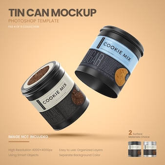 Two small tin cans flying mockup