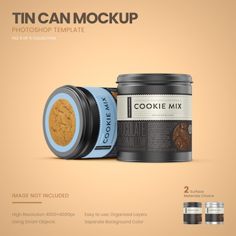 Two small tin cans standing mockup