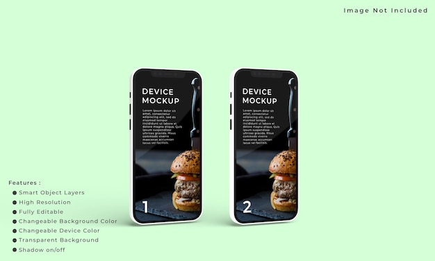 Два смартфона и макет экрана для презентации интерфейса приложения