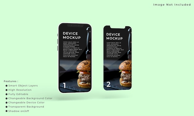 Two smart phone and screen mockup for application interface presentation