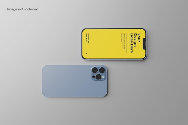 Two smartphone 13 mockup for showcasing your design to your clients