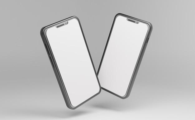 빈 화면 psd 파일이 있는 전면 회전에서 두 개의 스마트폰 모형