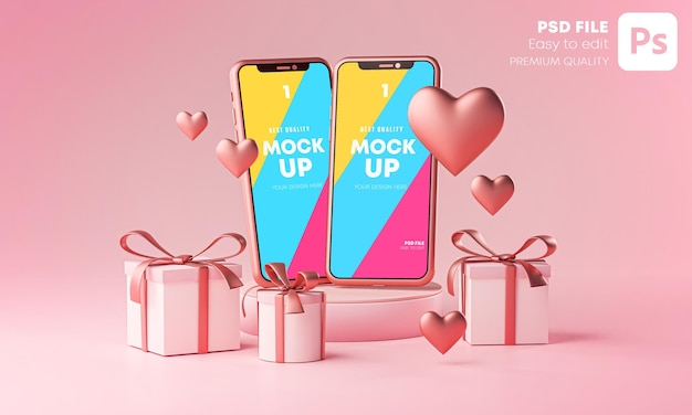 Два смартфона mockup valentine theme love heart shape и подарочная коробка 3d-рендеринг