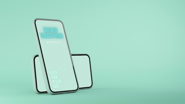 Two smartphone with mockup screen isolated on mint green background with copy space