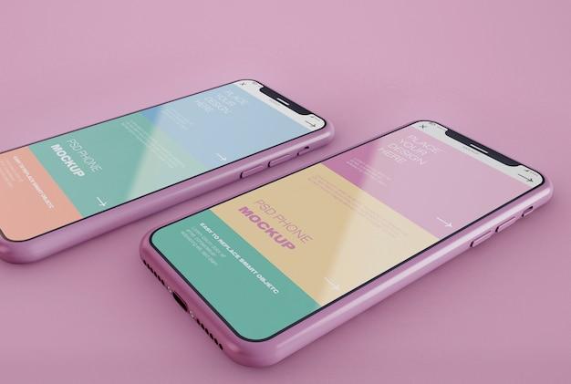 2つのスマートフォンのモックアップ