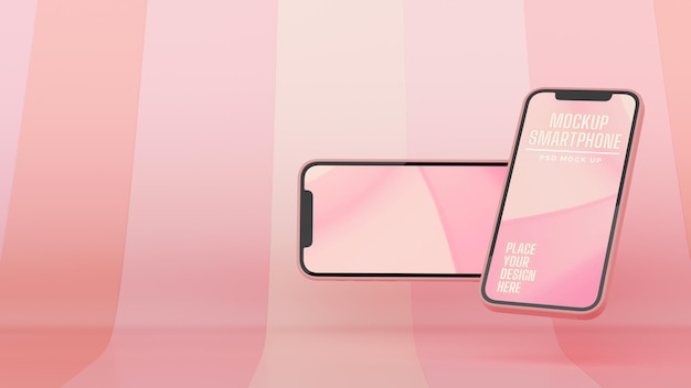 Two smartphones with mockup screen flying on pink abstract background