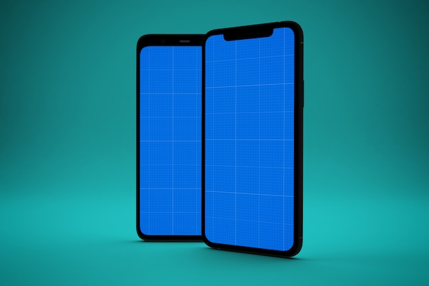 Two smartphones with mockup screen