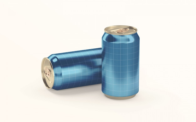 Two soda drink cans on ground mockup