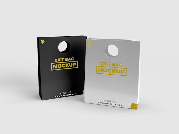 Two special gift realistic textured bag for branding and display mockup