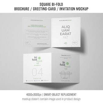 Two square bi-fold brochure or greeting card mockups