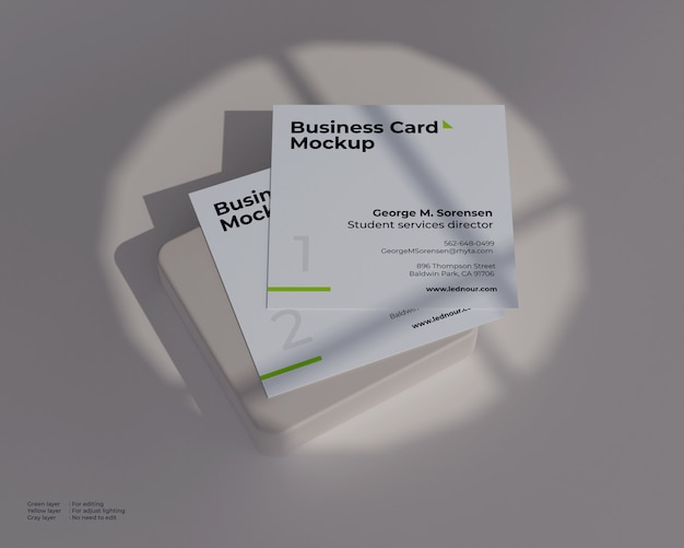 Two square business card mockup under shadow