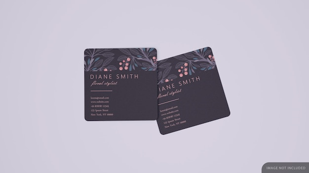 Two square business card mockup