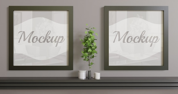 Two square frame mockup on the wall. couple black frame mockup for logo, photo and artwork