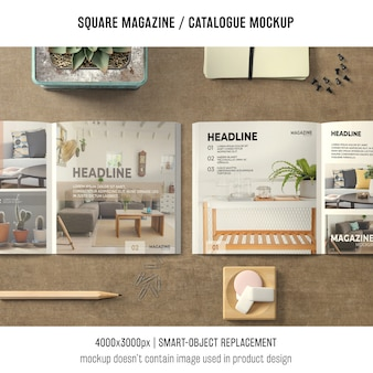 Two square magazine or catalogue mockups with still life