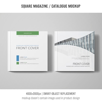 Two square magazine or catalogue mockups