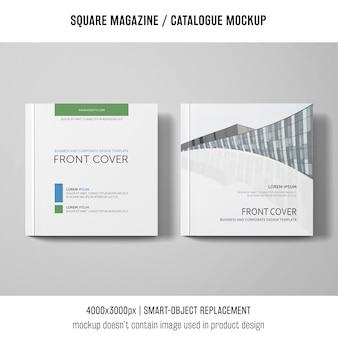 2つの正方形の雑誌またはカタログモックアップ