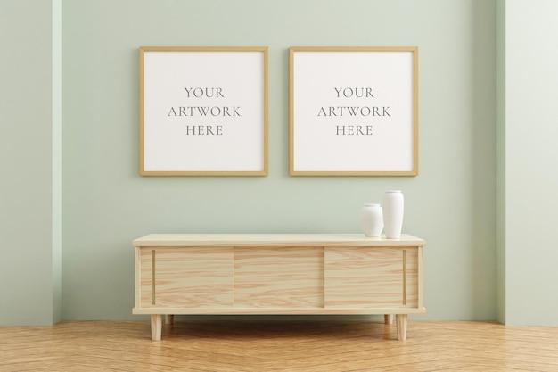 Два квадратных деревянных макета рамки плаката на деревянном столе в интерьере гостиной на пустом фоне стены пастельных тонов. 3d-рендеринг.