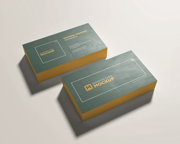 Two stack business card mockup
