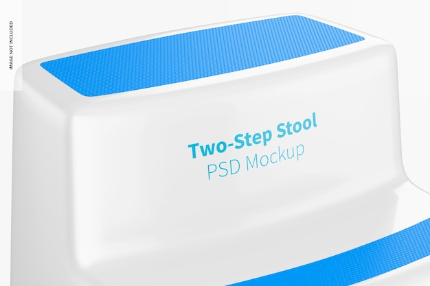 Two-step stool mockup, close up