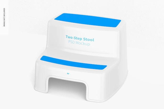 Two-step stool mockup, left view