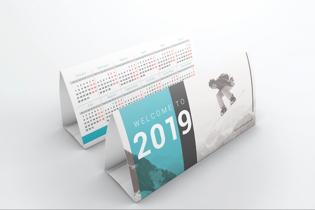 Two table calendars mockup
